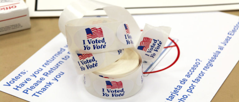 """""""I voted"""" stickers in English, and Spanish."""