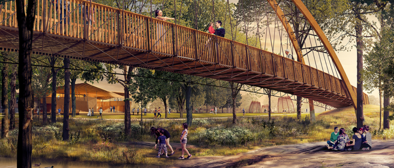A rendering of Auro Bridge will span the Reedy River.