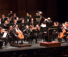 Musicians performing during a Greenville Symphony Orchestra concert.