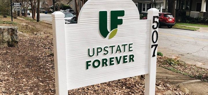 The building sign in front of Upstate Forever.