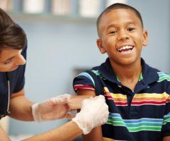 A child receiving a flu shot.