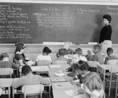 An integrated classroom during the desegregation era.