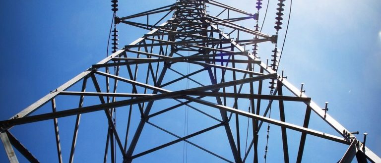 A powerline utility pole.