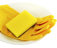 Cleaning gloves and a sponge in a bowl.