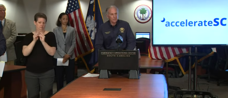 Governor Henry McMaster speaking at a press conference.