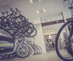 Dozens of bicycles in a bike shop.