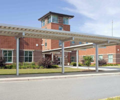 The exterior of Tanglewood Middle School.