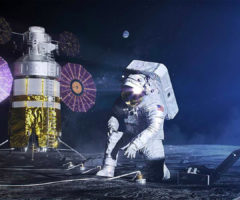 A person in a spacesuit on the moon.