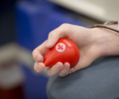A person donating blood while holding a sponge ball.