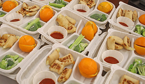 A table of prepared school lunches.