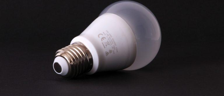 An unlit, unplugged LED light bulb.