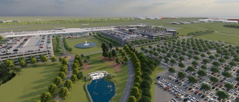 A rendering of an airport.