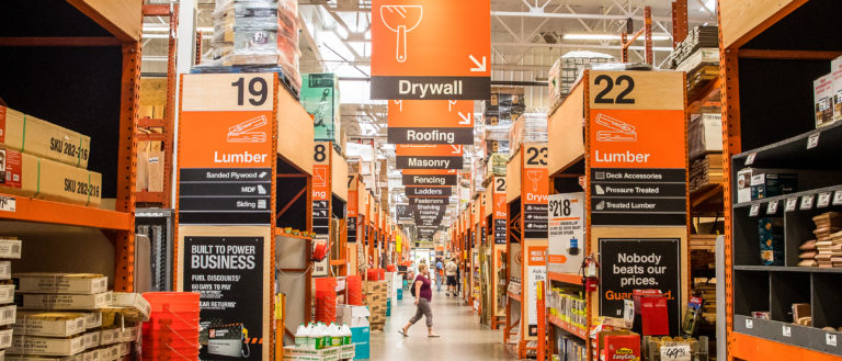 An aisle of hardware supplies in a Home Depot store.
