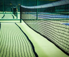 The net of a pickle ball court.