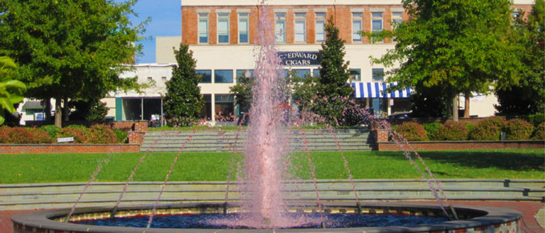 Water fountain in front of Spartanburg Courthouse.