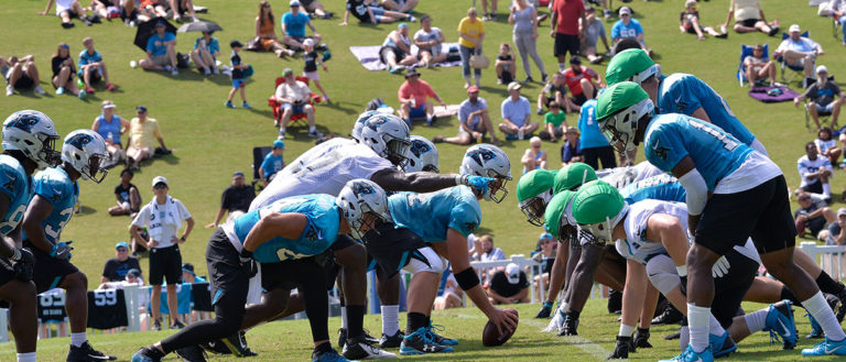 Carolina Panthers players practicing during a training camp session at Spartanburg's Wofford College.