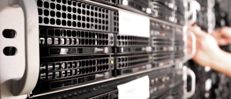 Racks of servers at a datacenter.