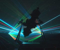 A laser show at a planetarium.