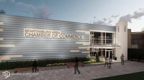 A rendering of upcoming renovations at the Spartanburg Area Chamber of Commerce building.