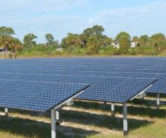 Solar panels on a farm.
