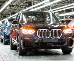 A BMW X5 on the assembly line.