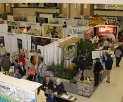 People on an expo floor browsing home and garden booths.