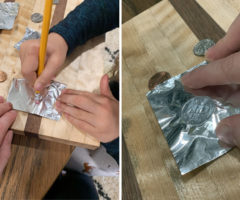 A student rubbing foil over a penny.