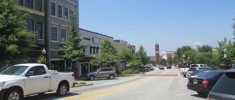 A busy city street in downtown Spartanburg.