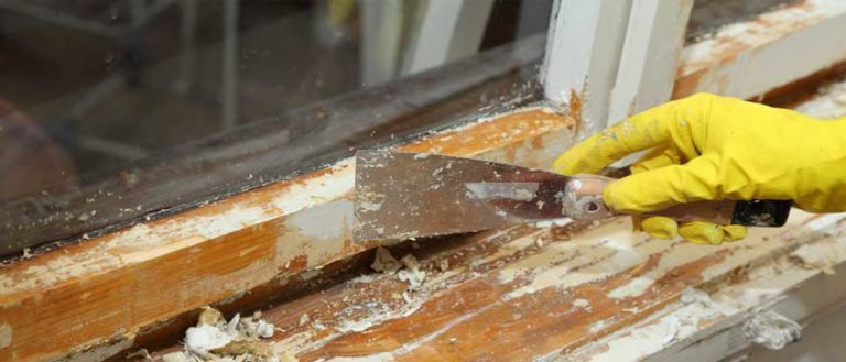 Lead paint being removed from a window sill.