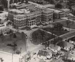 An aerial view of a hospital in 1942.