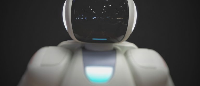 A robot with an LCD face.